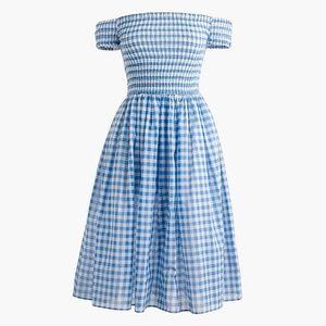 JCrew Smocked Off-The-Shoulder Gingham Beach Dress